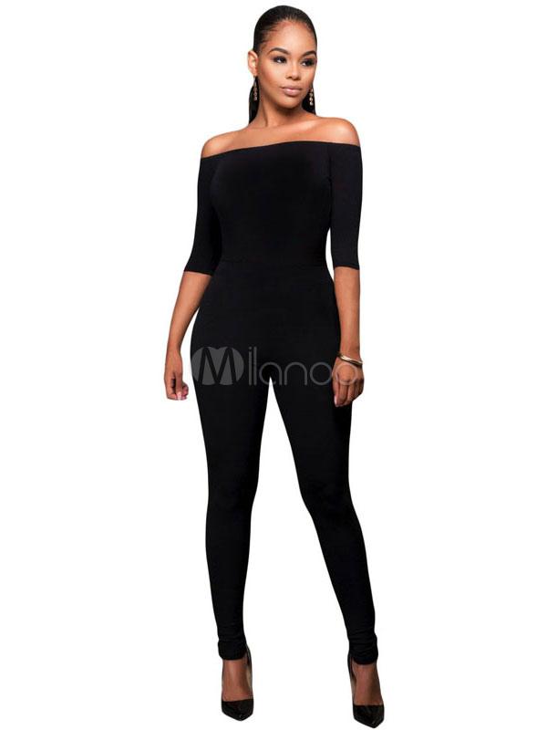 Milanoo / Women's Black Jumpsuit Bateau Backless Skinny Sexy Jumpsuits