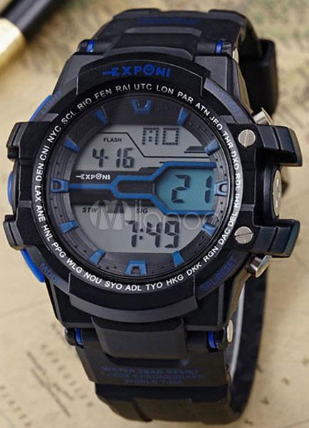 625695dd43a Relógio de pulso masculino relógio Digital multifunções preto borracha Band  esporte-No.1 ...