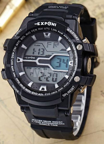 0bfa25f7237 ... Relógio de pulso masculino relógio Digital multifunções preto borracha  Band esporte-No.3