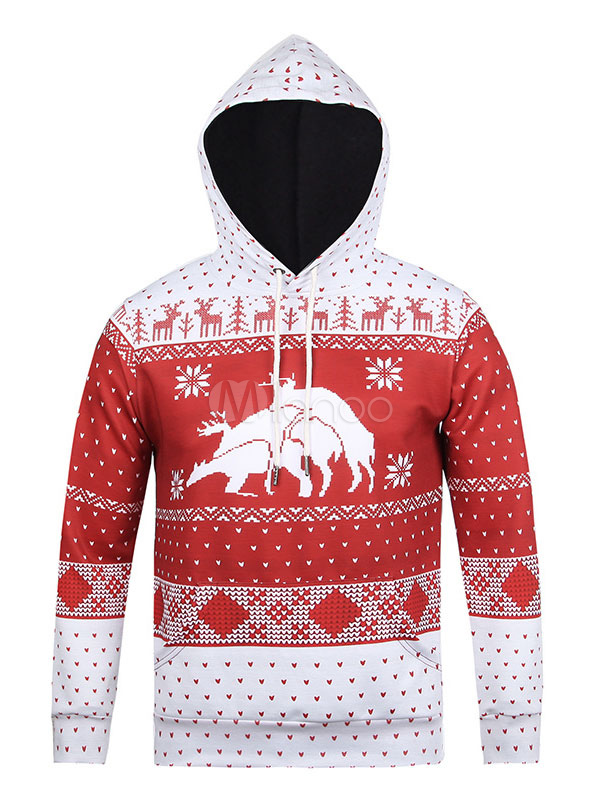 Christmas Pullover Hoodie Men's Printed Long Sleeve Hooded Sweatshirt