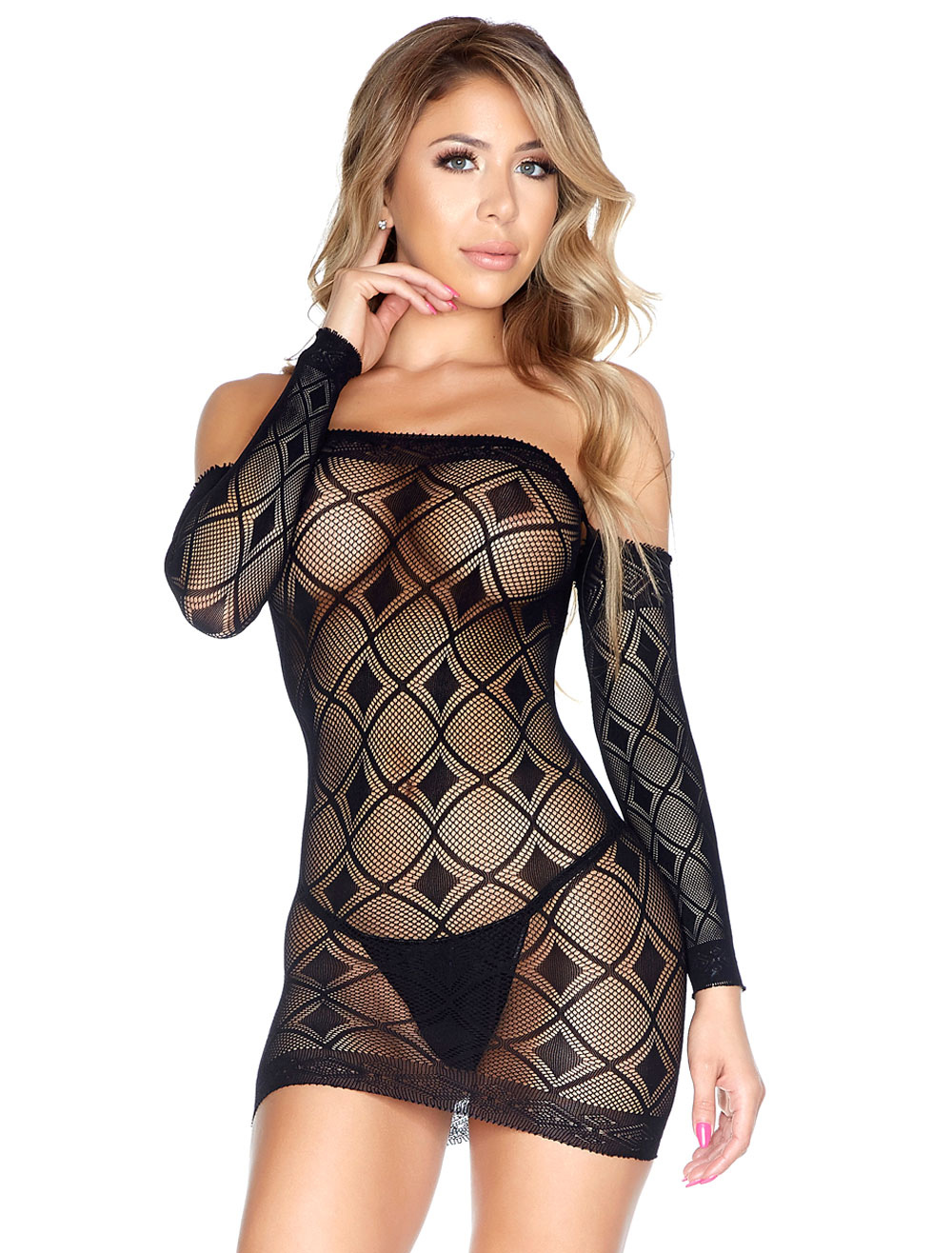 b7fff9c73ae0 ... Black Sexy Chemises Women s Off The Shoulder Long Sleeve Sheer Slim Fit Mini  Dress Lingerie With. 1. 35%OFF. Color Black