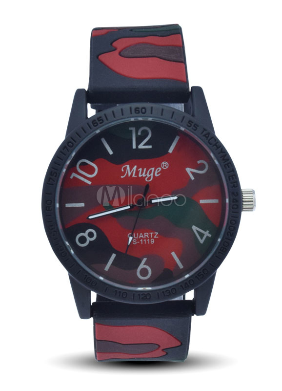 Buy Analog Sports Watch Camouflage Rubber Band Alloy Quartz Watch for $4.24 in Milanoo store