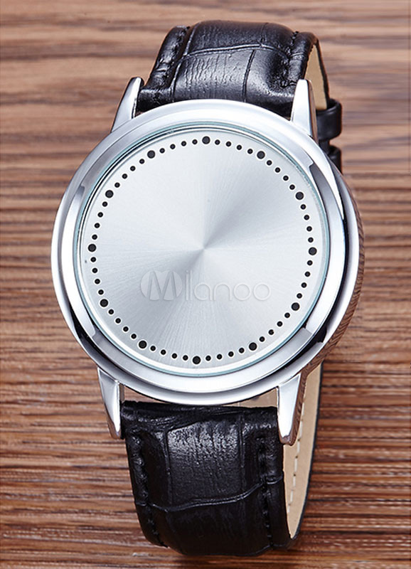 White Led Watch Unisex Touchscreen Leather Band Digital Wrist Watch