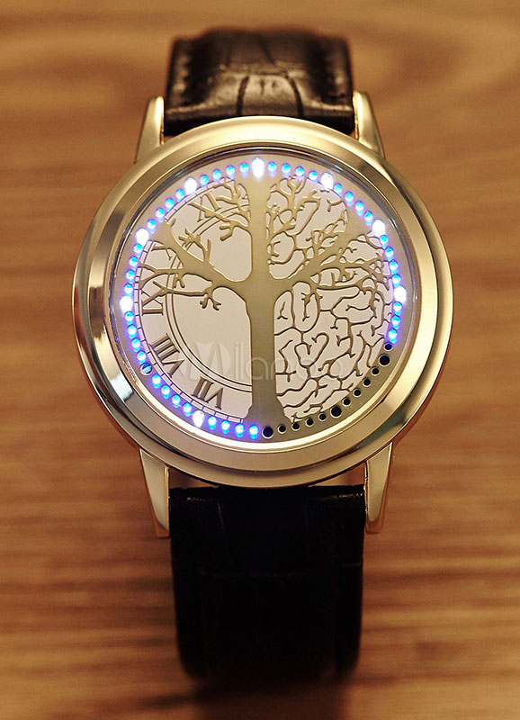 Round Quartz Watch LED Leather Strap Unisex Touch Collection Gold Casual Watch