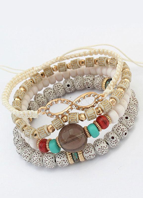 Buy Bohemian Stretch Bracelet Loop 4 Row Bead Strand Bracelet For Women for $3.99 in Milanoo store