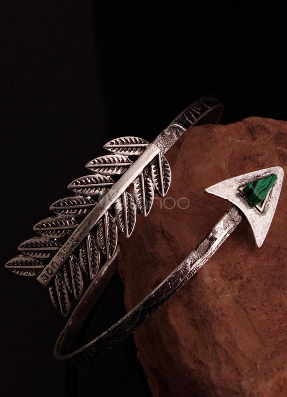 Silver Cuff Bracelet Leaf Alloy Bangle For Women