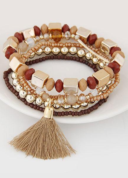 Bohemian Charm Bracelet Tassel 5 Row Tiered Alloy Bead Stretch Bracelet