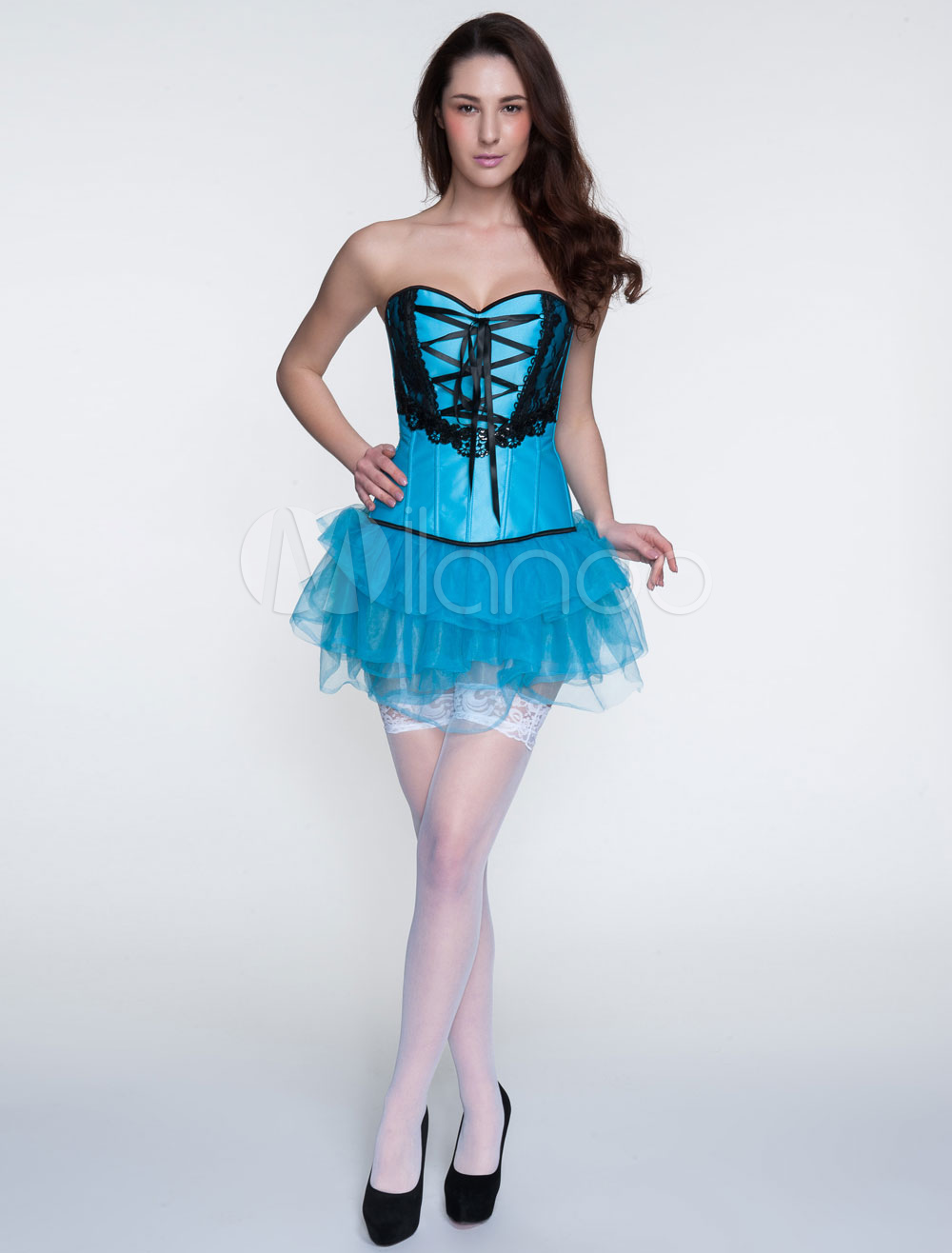 Buy Blue Corset Outfits 2 Piece Pleated Mini Skirt And Sweetheart Lace Up Corset Tops for $27.99 in Milanoo store