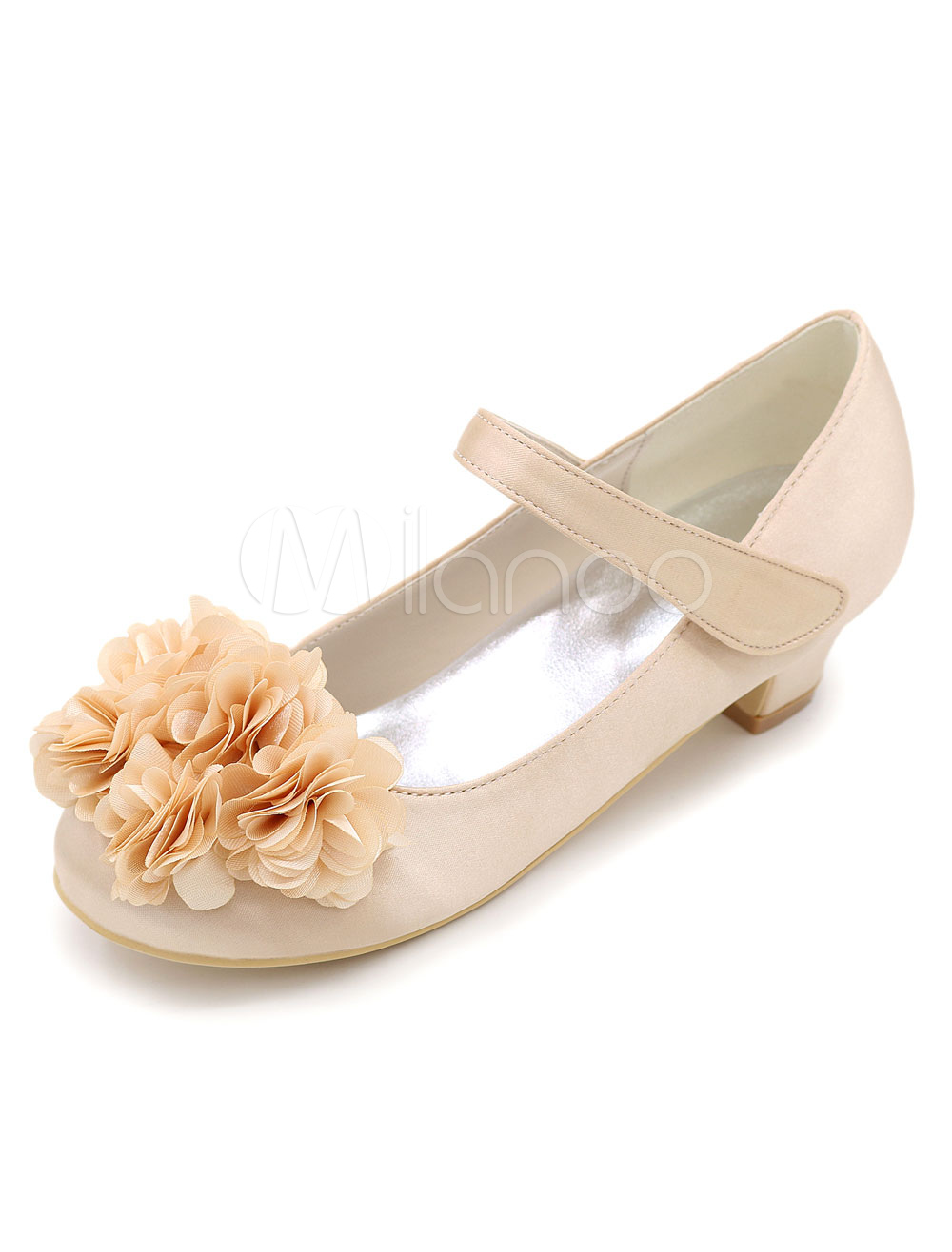 Satin Flower Girl Pumps Shoes Sweet Flower Champagne Wedding Shoes For Kids