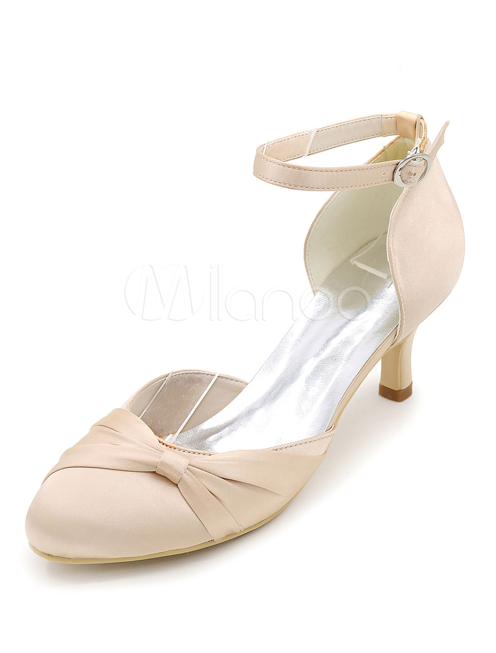 Ivory Wedding Shoes Satin High Heel Bridal Shoes Round Toe Ankle Strap Kitten Heel Pumps