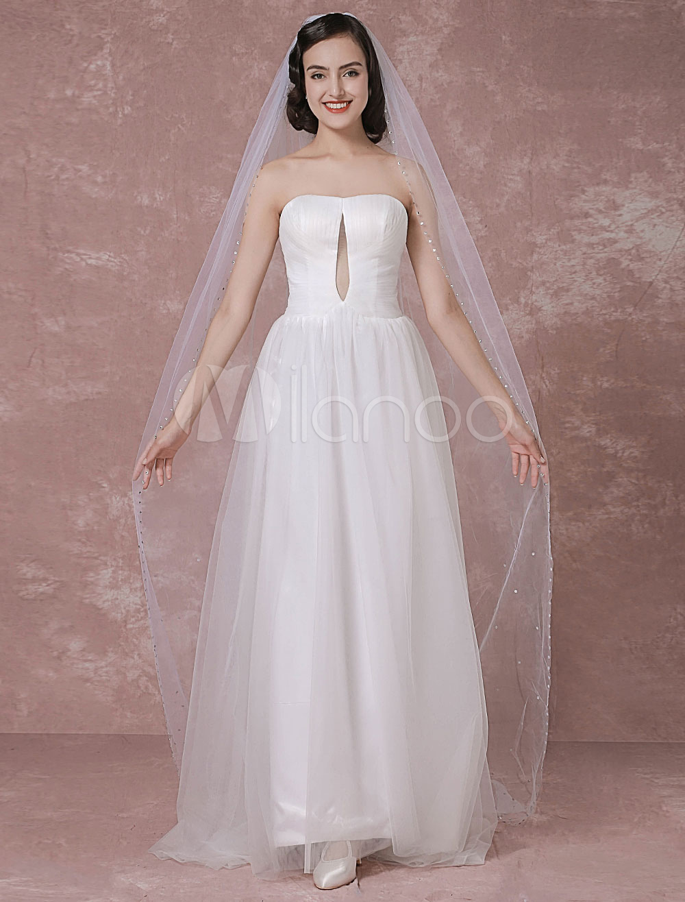 Buy Ivory Wedding Veil Tulle One-Tier Beaded Edge Bridal Veil for $29.44 in Milanoo store