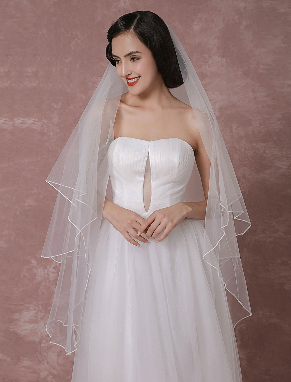 Buy White Wedding Veil Classic Tulle Two Tier Finished Edge Bridal Veil for $18.04 in Milanoo store