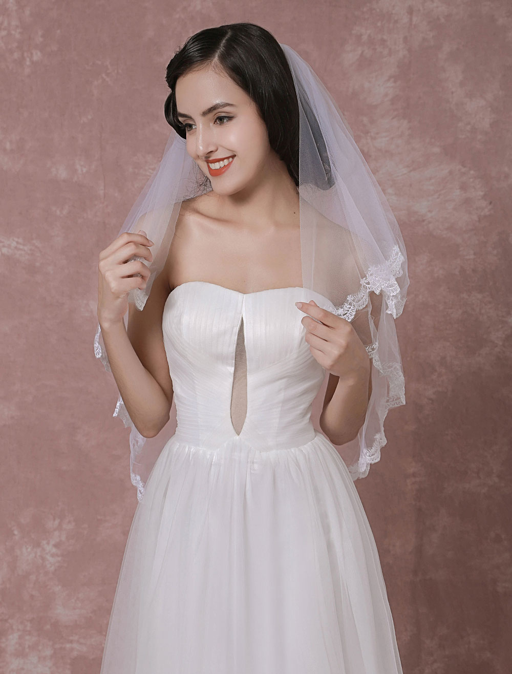 Buy Ivory Wedding Veil Tulle Two-Tier Lace Applique Edge Bridal Veil for $18.04 in Milanoo store