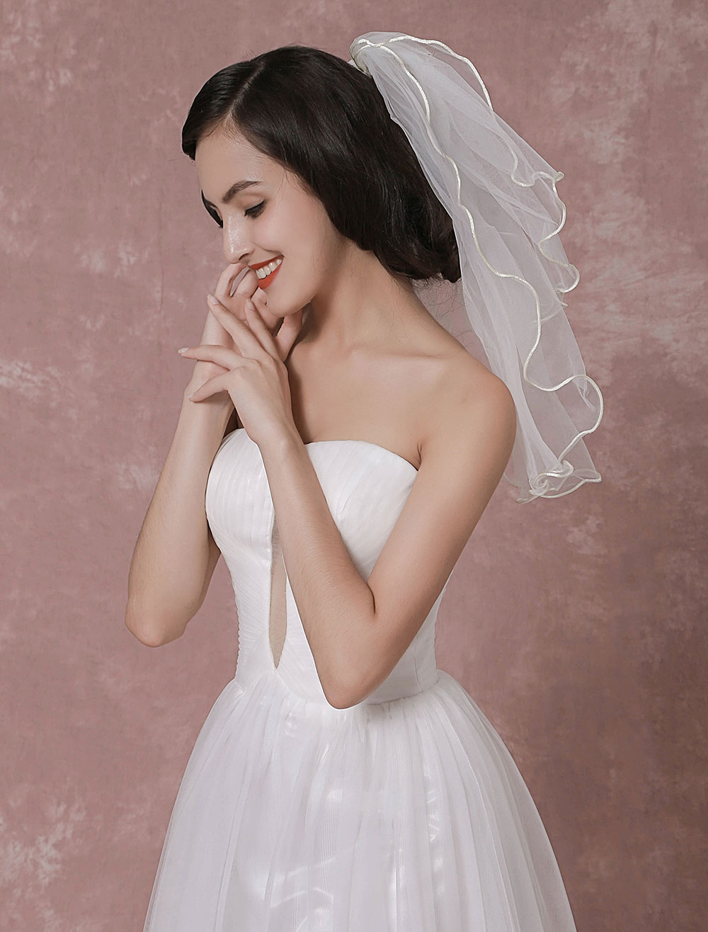 Ivory Wedding Veil Tulle Two-Tier Ribbon Edge Bridal Veil