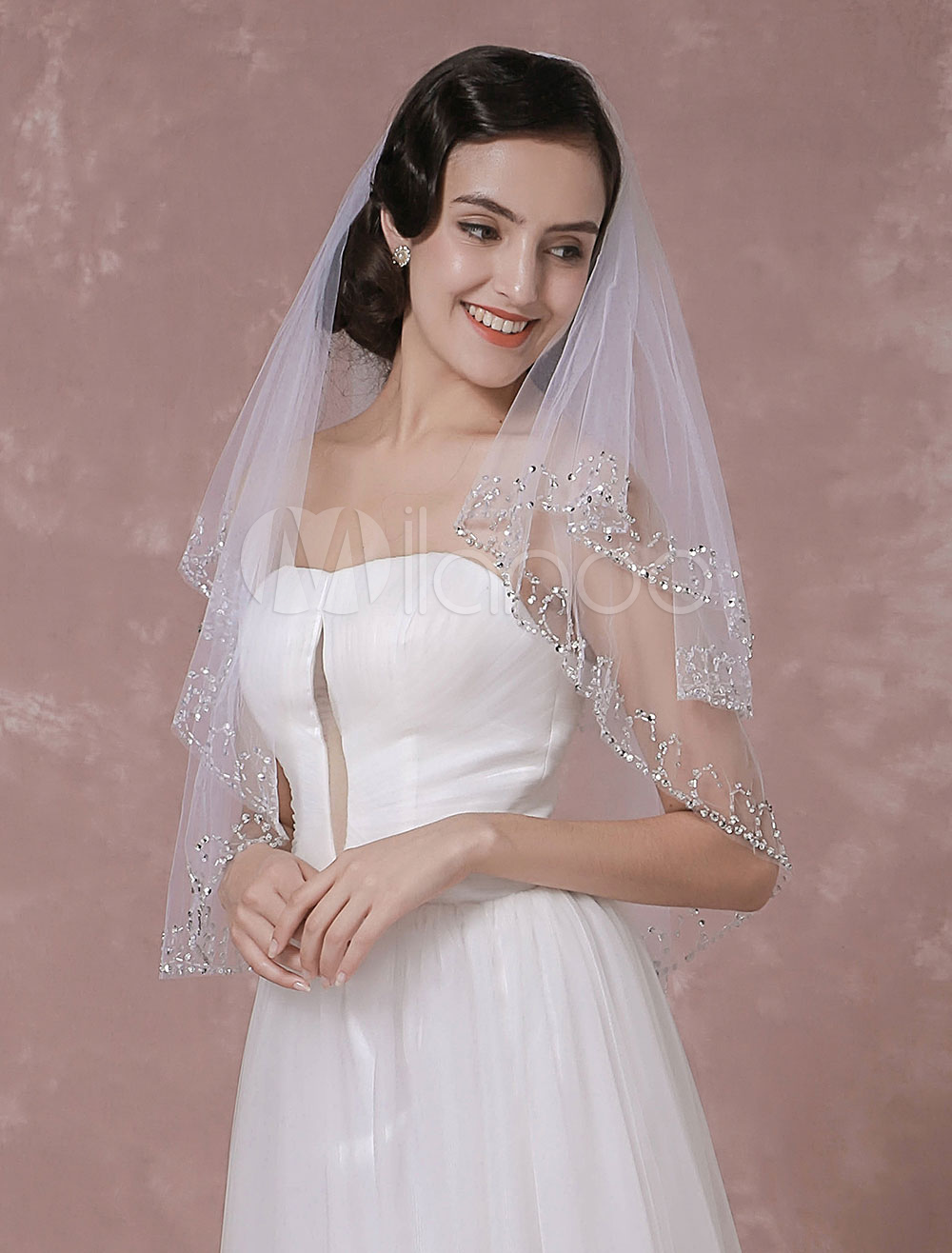 Buy Tulle Wedding Veil Sequins 2-Tier Bridal Veil With Handmade Beaded Edge for $27.89 in Milanoo store