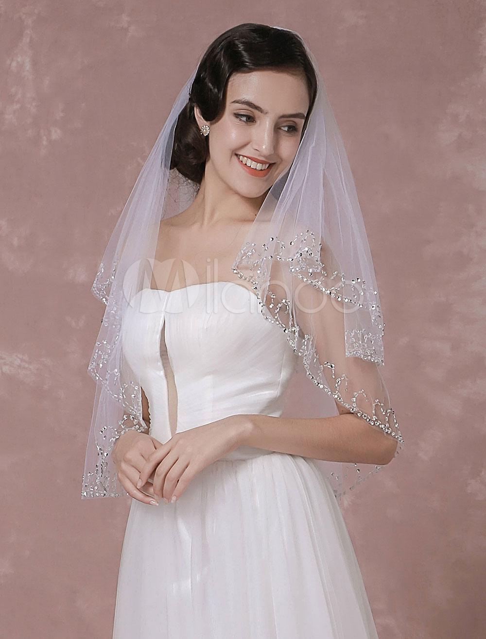 Tulle Wedding Veil Sequins 2-Tier Bridal Veil With Handmade Beaded Edge