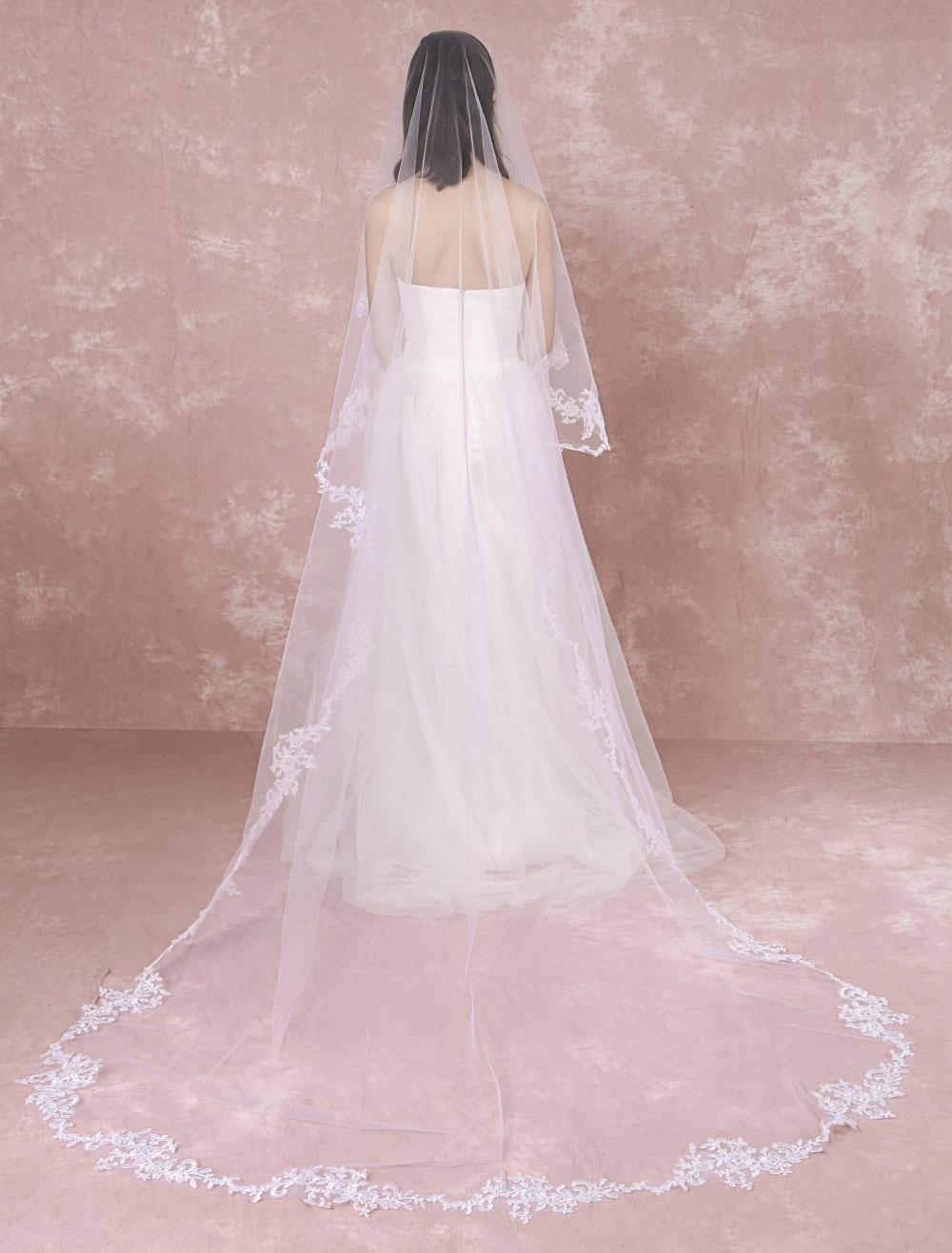 Cathedral Wedding Veil Lace Trim Applique Flower Tulle 1  Tier Bridal Veil