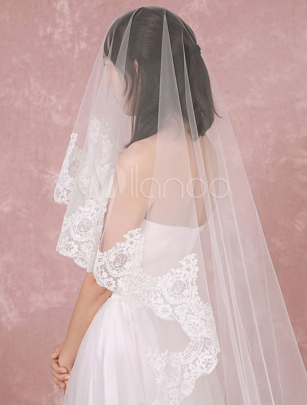Buy Cathedral Wedding Veil Tulle Lace Applique Edge One-Tier Bridal Veil for $36.89 in Milanoo store