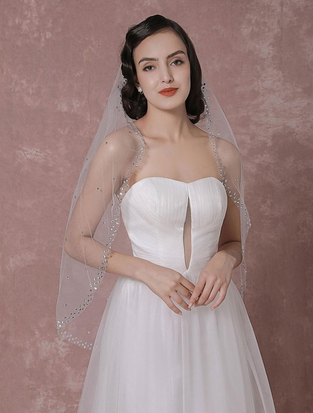 Buy Tulle Wedding Veil 1-Tier Beaded Edge Bridal Veil for $25.64 in Milanoo store