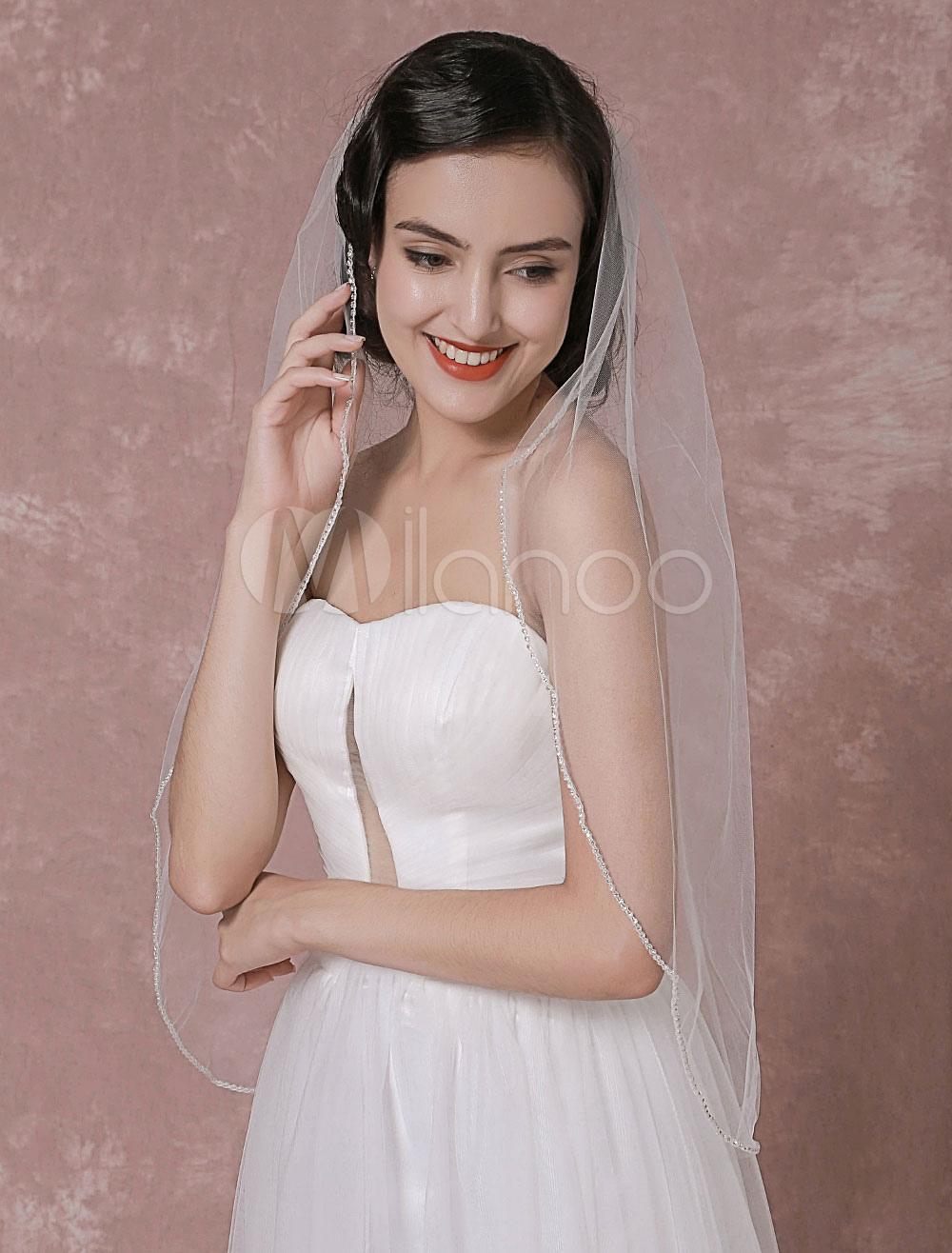 Buy Tulle Wedding Veil 1 Tier Beaded Edge Bridal Veil for $18.99 in Milanoo store