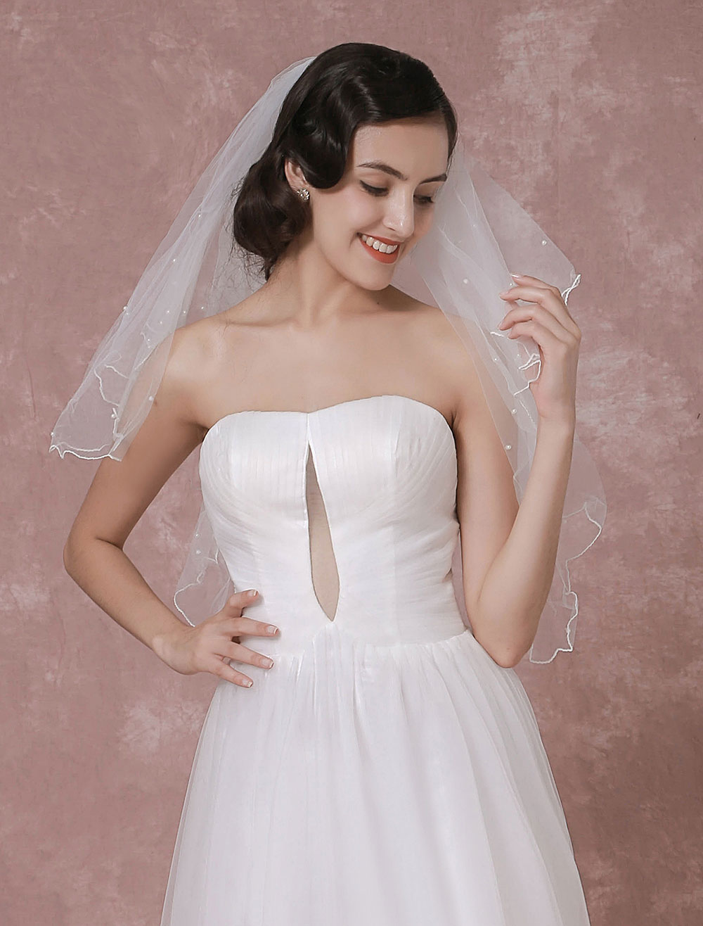 Buy Ivory Wedding Veil Tulle Two-Tier Pearl Trim Edge Bridal Veil for $13.29 in Milanoo store