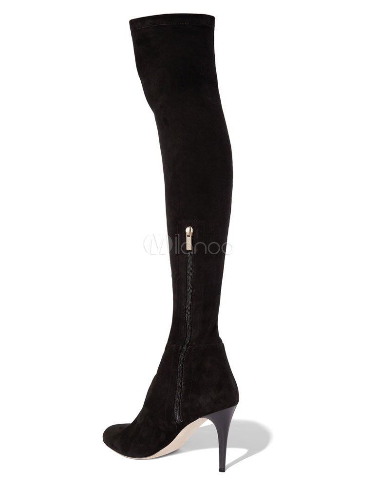 schwarze stretch stiefel damen schwarze spitze zehe ber knie high heel. Black Bedroom Furniture Sets. Home Design Ideas