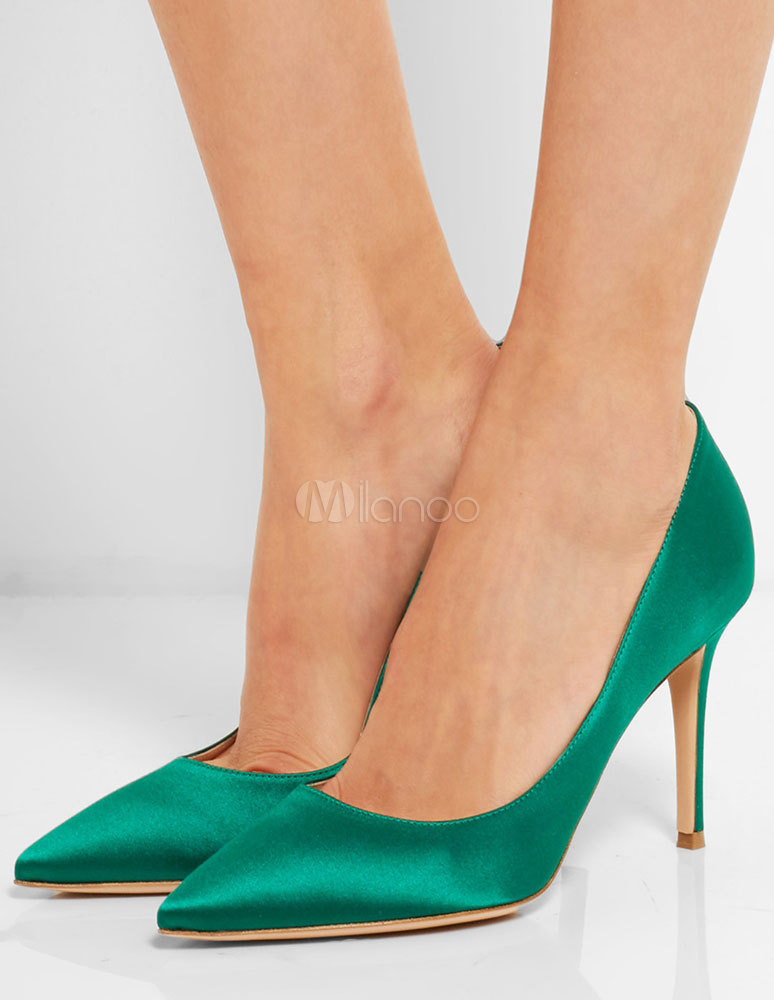 Buy Green Satin Pumps Pointed Toe High Heels Women's Stiletto Slip On Evening Shoes for $58.89 in Milanoo store