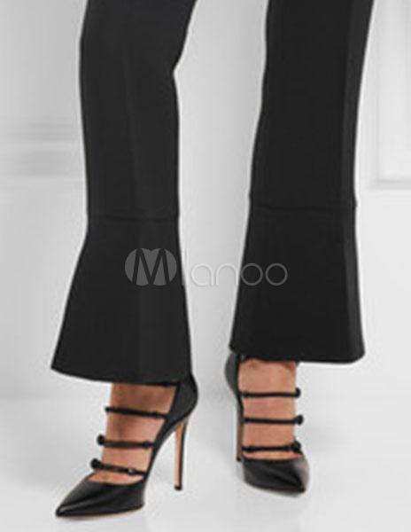 Zapatos de tacón de PU negros Color liso con botones hL1VMo