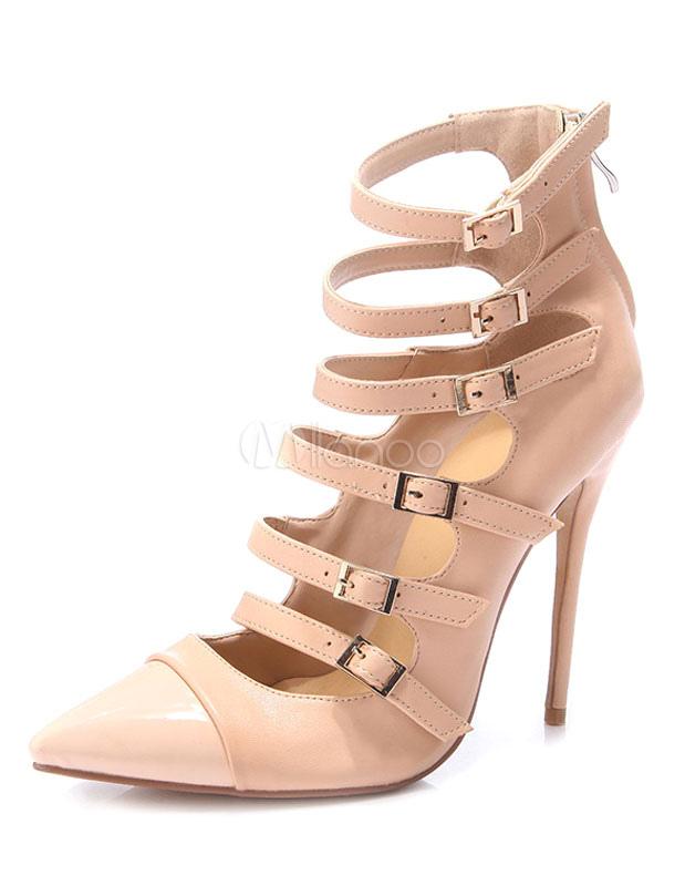 Zapatos de tacón de PU de color nude Color liso con hebilla 71XTqNgpR
