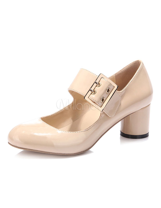 Nude Nude Nude Pumps scarpe tacco fibbia vernice Mary Jane scarpe per le donne ... 6e56e7