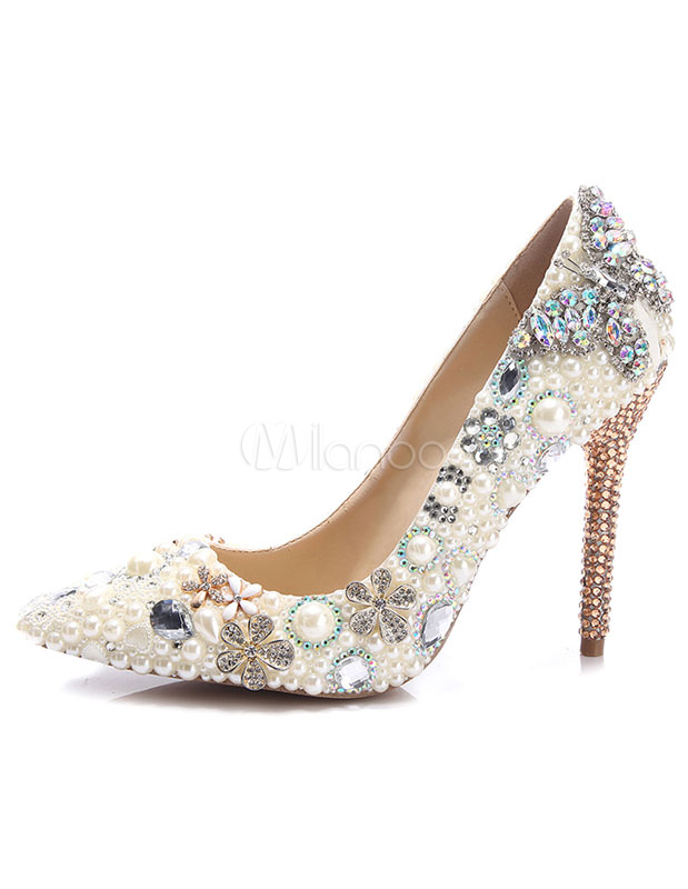 High Heel Evening Shoes Women's Pearls Pumps Shoes Rhinestone Pointed Toe Stiletto Party Shoes