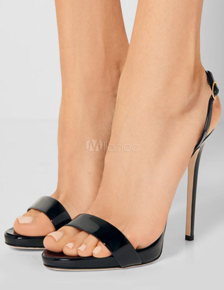 Open Sandali Scarpe Alto Vestito Slingback Per Nero Tacco Estate Toe 6gvf7byY