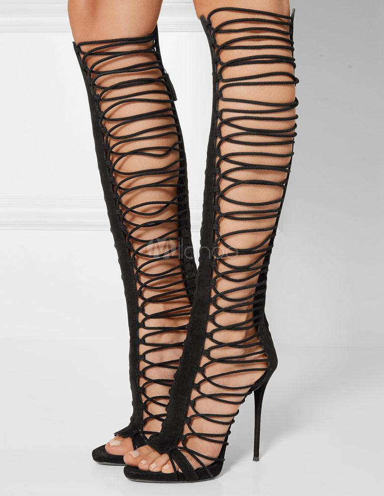 Black Gladiator Sandals Stiletto Open Toe Strappy Boots For Women