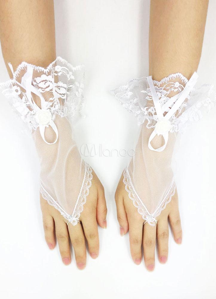White Wedding Gloves Tulle Fingerless Applique Ruffles Wrist Length Bridal Gloves For Women