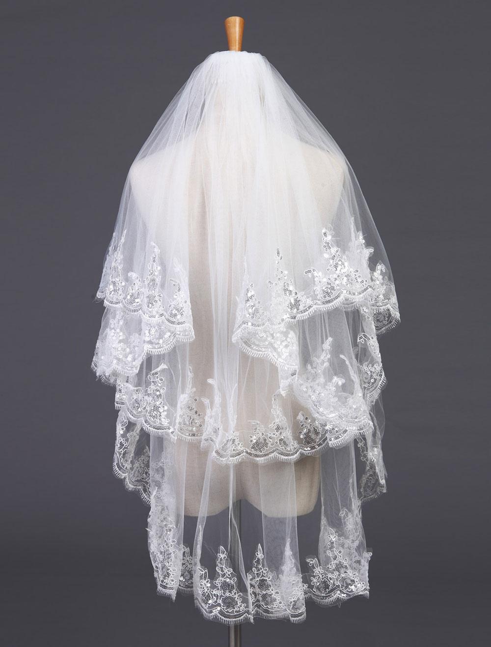 Two-Tier Wedding Veil Tulle Lace Applique Edge Bridla Veil With Comb