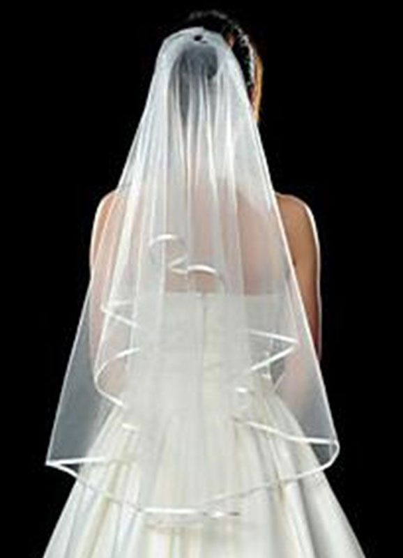 Wedding Veil Tulle  One Tier Ribbons Finished Edge Bridal Veil