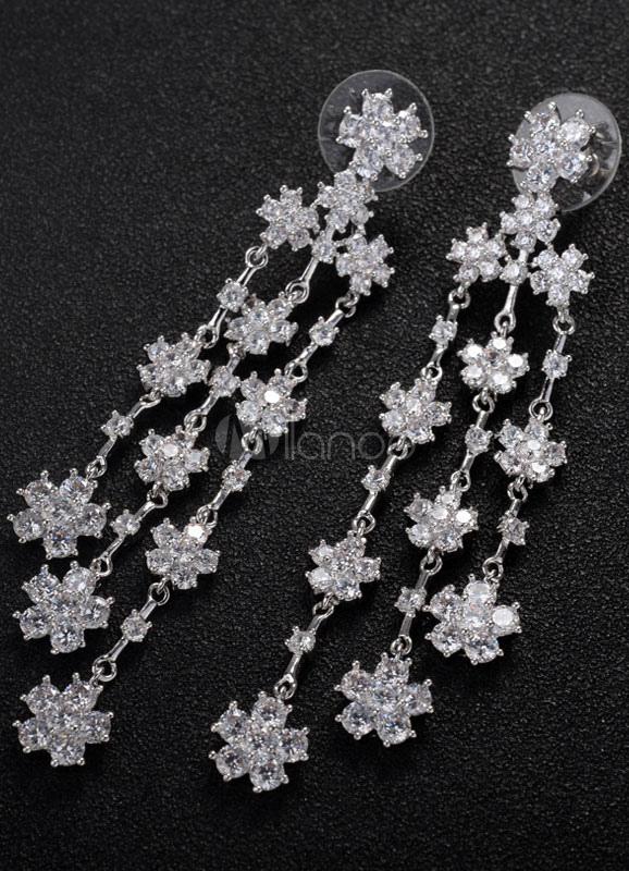 Silver Wedding Earrings Rhinestone Pierced Dangle Earrings