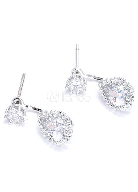 Silver Drop Earrings Copper Rhinestone Stud Wedding Earrings