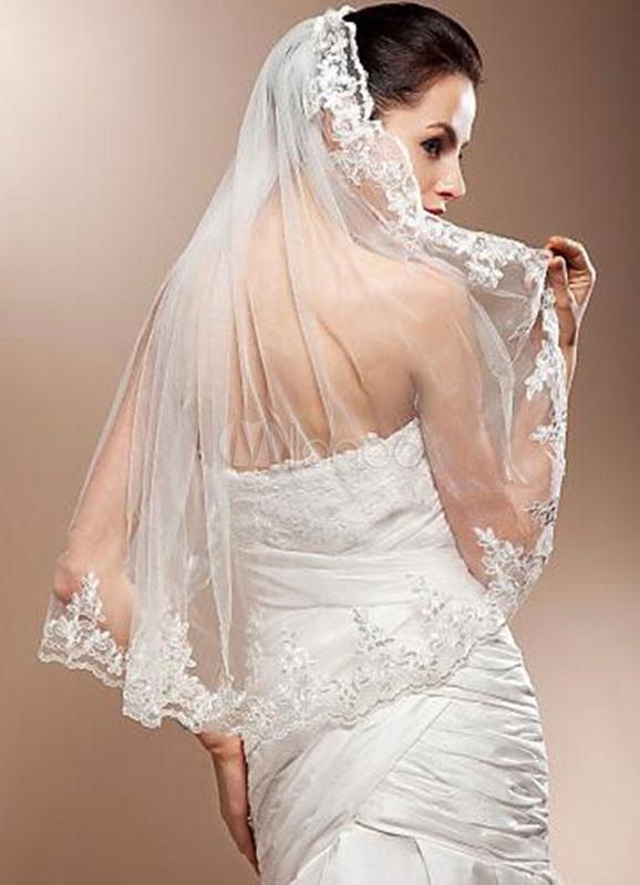 Lace Wedding Veil Lace Applique Edge One-Tier Bridal Veil