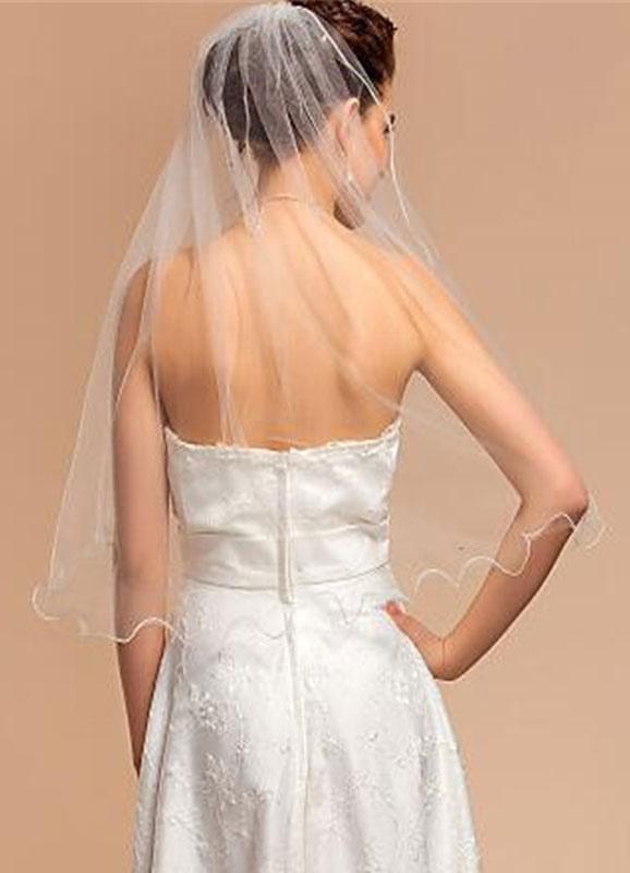 Tulle Wedding Veil One-Tier Pencil Edge Sequins Bridla Veil