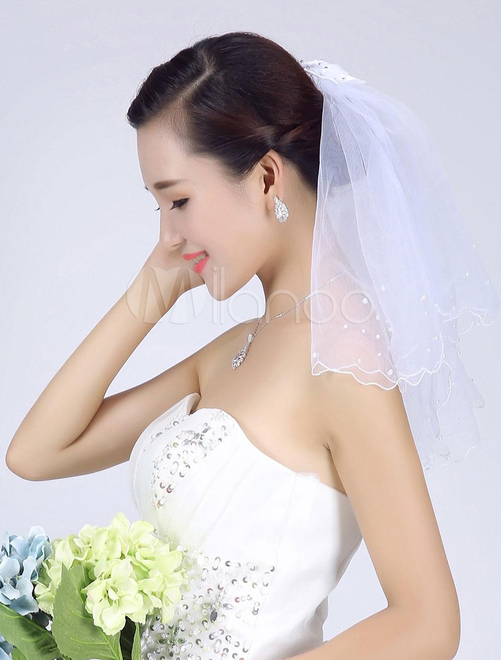 White Wedding Veil Tulle Two-Tier Beaded Edge Short Bridal Veil