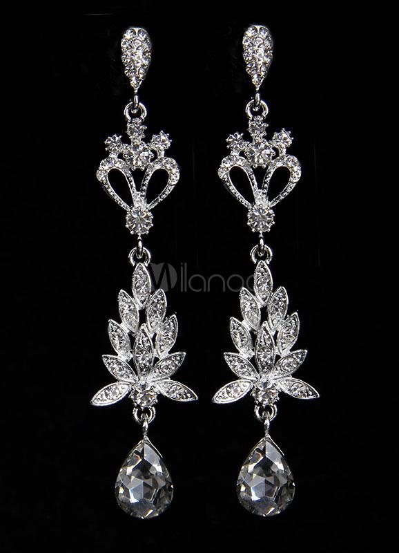 Silver Drop Earrings Flowers Rhinestone Women's Pierced Long Dangle Earrings