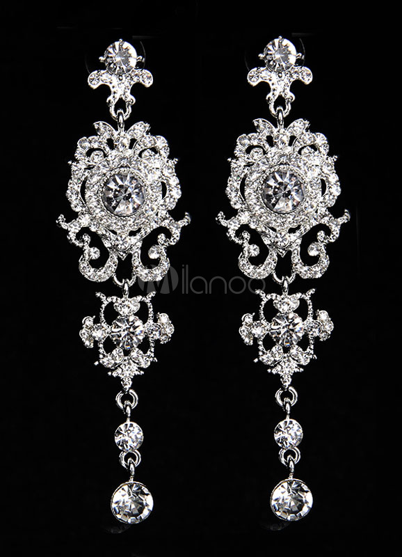 Buy Wedding Drop Earrings Silver Rhinestone Pierced Bridal Earrings for $8.99 in Milanoo store