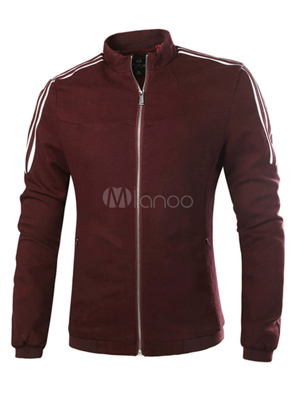 Khaki Men's Jacket Long Sleeve Zip Up Casual Cotton Jacket