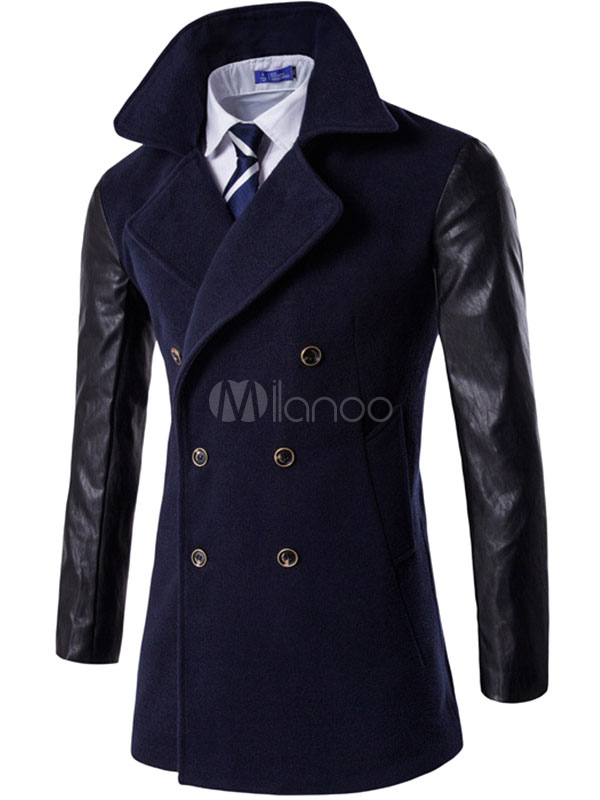 Men's Pea Coat Double Breasted Leather Sleeve Casual Winter Coat