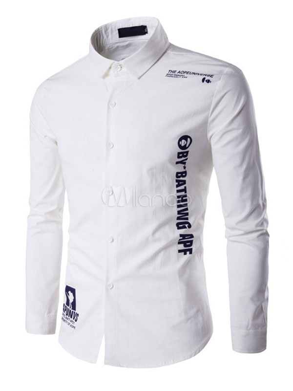 Men's White Shirts Long Sleeve Letters Printed Casual Shirt