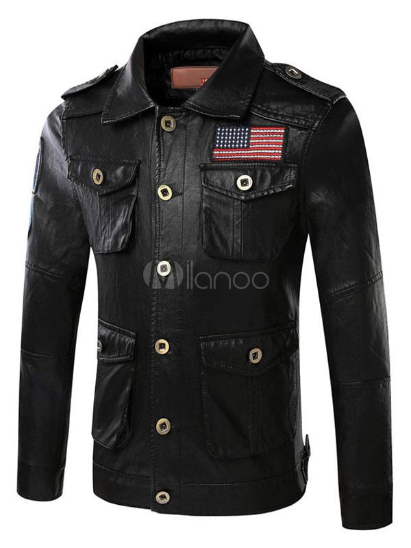 Black Men's Jacket PU Leather Buttons Pockets Shoulder Strap Casual Moto Jacket