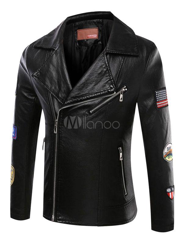 Men's Black Jacket PU Leather Zip Up Letterd Patch Fit Moto Jacket