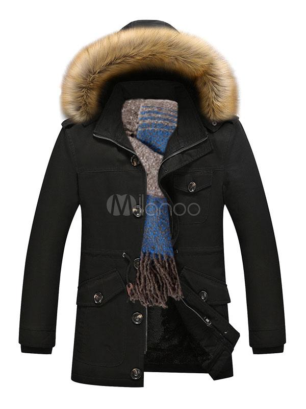 3e8849b7e5a59 Black Parka Coat Faux Fur Hoodie Jacket Men Lined Detachable Overzied  Winter Coat-No.