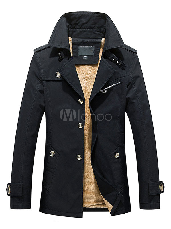 Buy Lined Trench Coat Men's Long Sleeve Cuff Strap Warm Winter Coat for $39.89 in Milanoo store